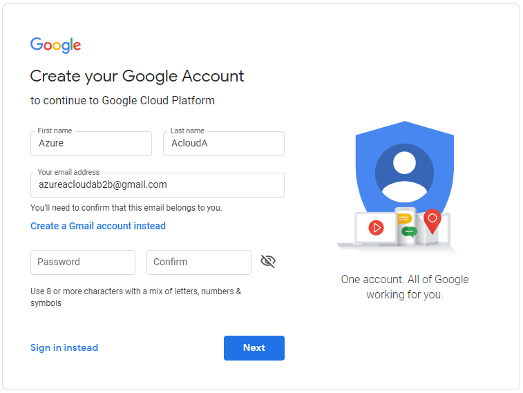 Log in with your Google account dedicated for the federation
