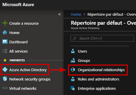 "Go to the Azure Active Directory blade and select ""Organizational relationships"""