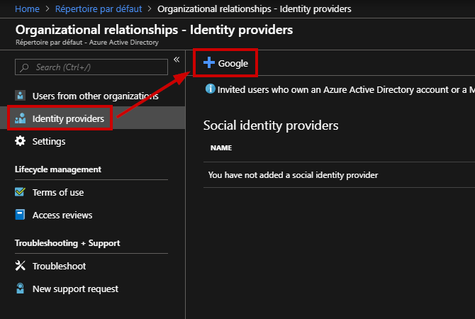 "Navigate to ""Identity Providers"" and click ""Google"""