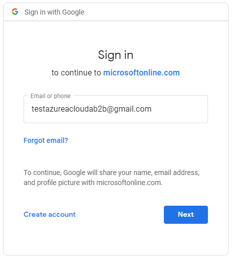 "Click ""Next"", and you will notice that you will be redirected from the Azure login to Google login"