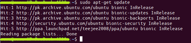 command $ sudo apt-get update