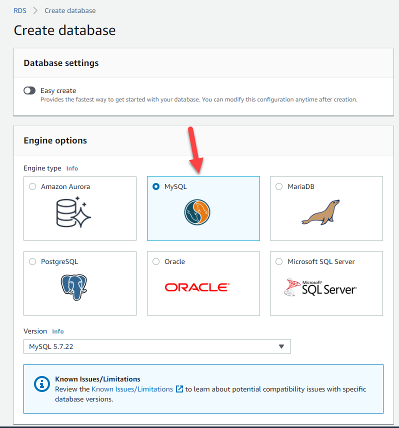 Select MySQL engine type and configure your RDS instance