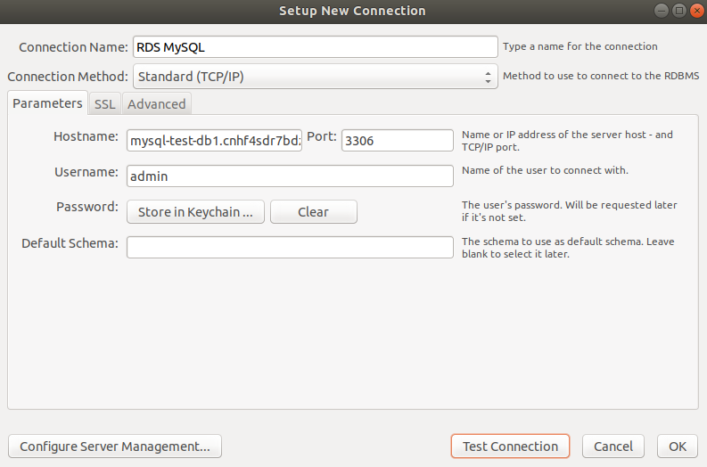 Create new connection and specify your endpoint name