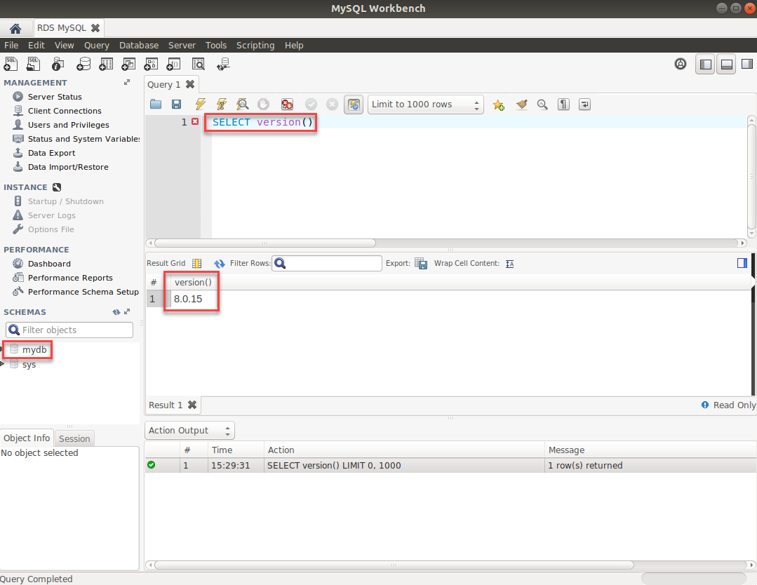 Check instance MySQL version