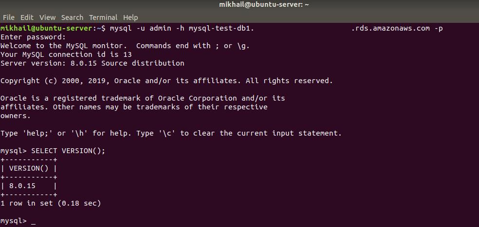 Using mysql CLI interface