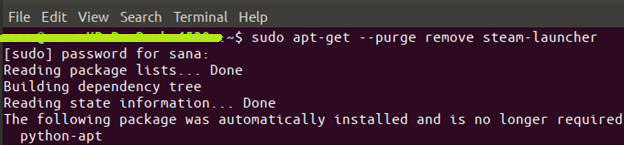 command $ sudo apt-get purge remove steam-launcher
