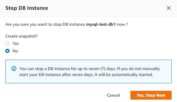 Stop RDS MySQL instance