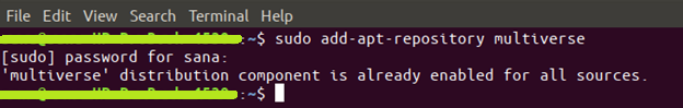command $ sudo add-apt-repository multiverse