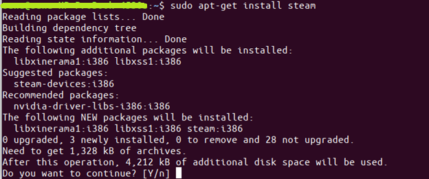 command $ sudo apt-get install steam