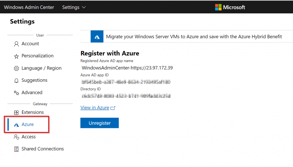 Confirm that WAC is registered in Azure