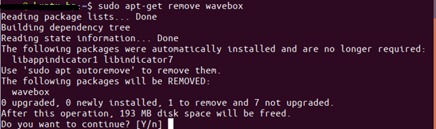 Command to remove Wavebox