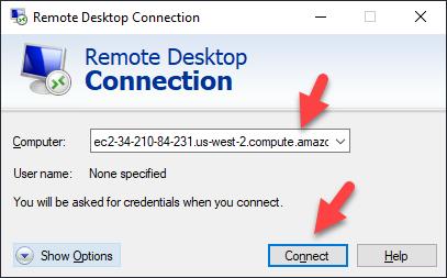 Remote Desktop Connection – Connect Dialogue