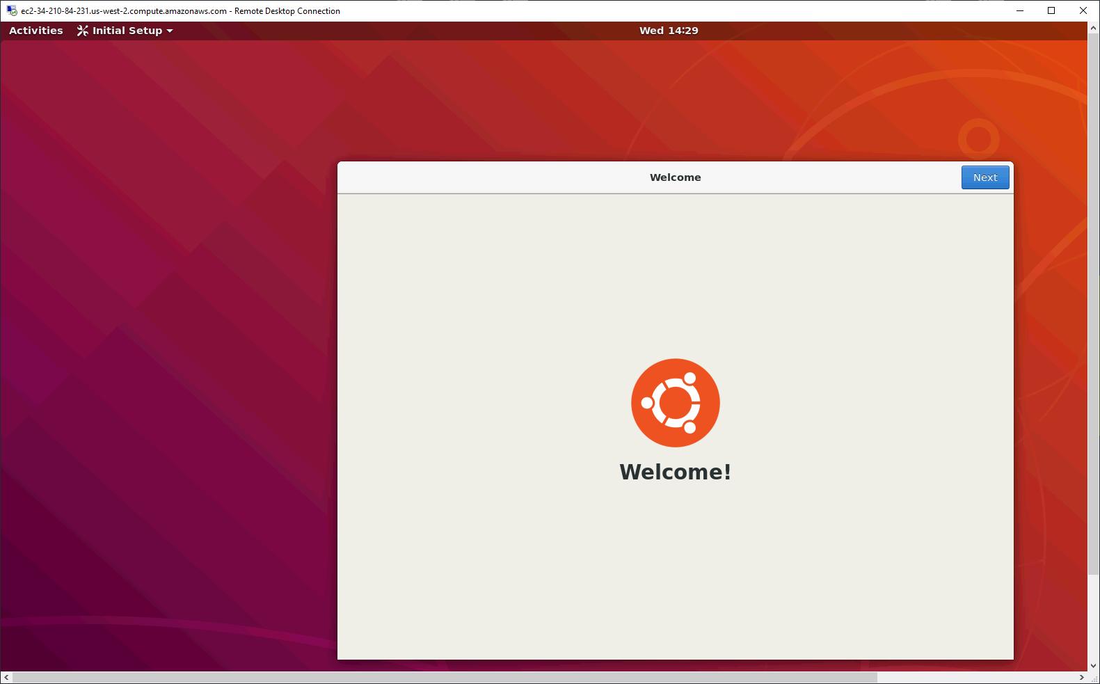 Remote Desktop Connection – Connection to Ubuntu Desktop established