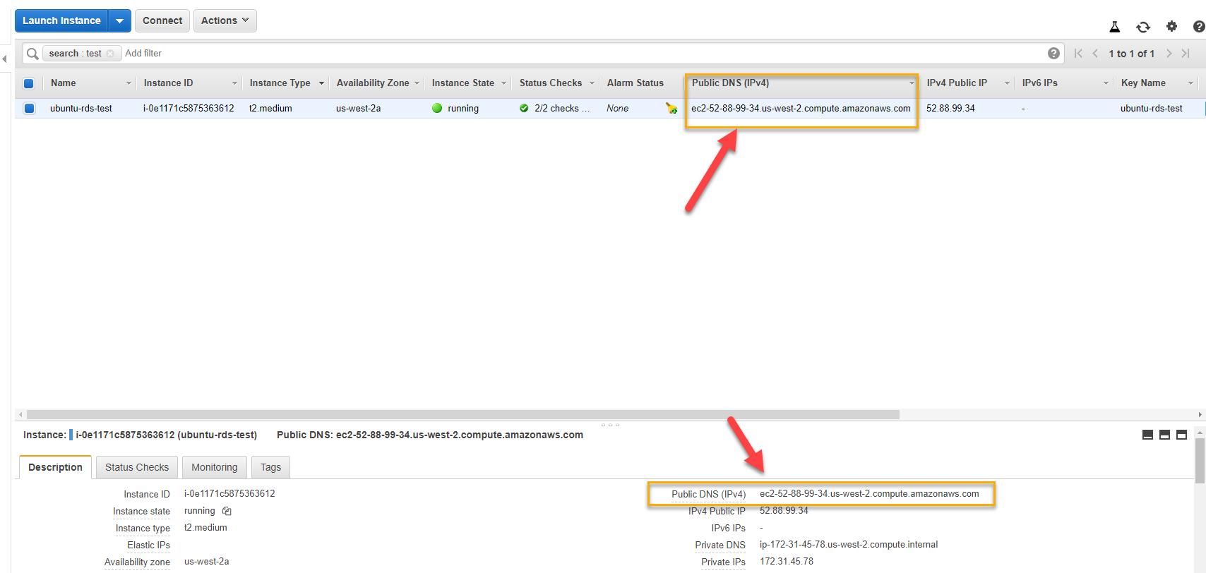 AWS EC2 console – Public DNS (IPv4)