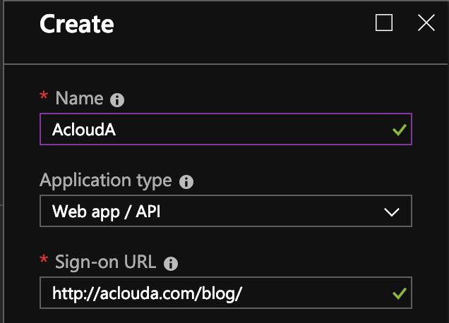 Choose the Web app / Api type