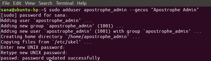 sudo adduser apostrophe_admin