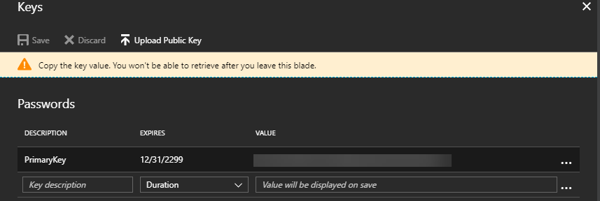 Generate a new key