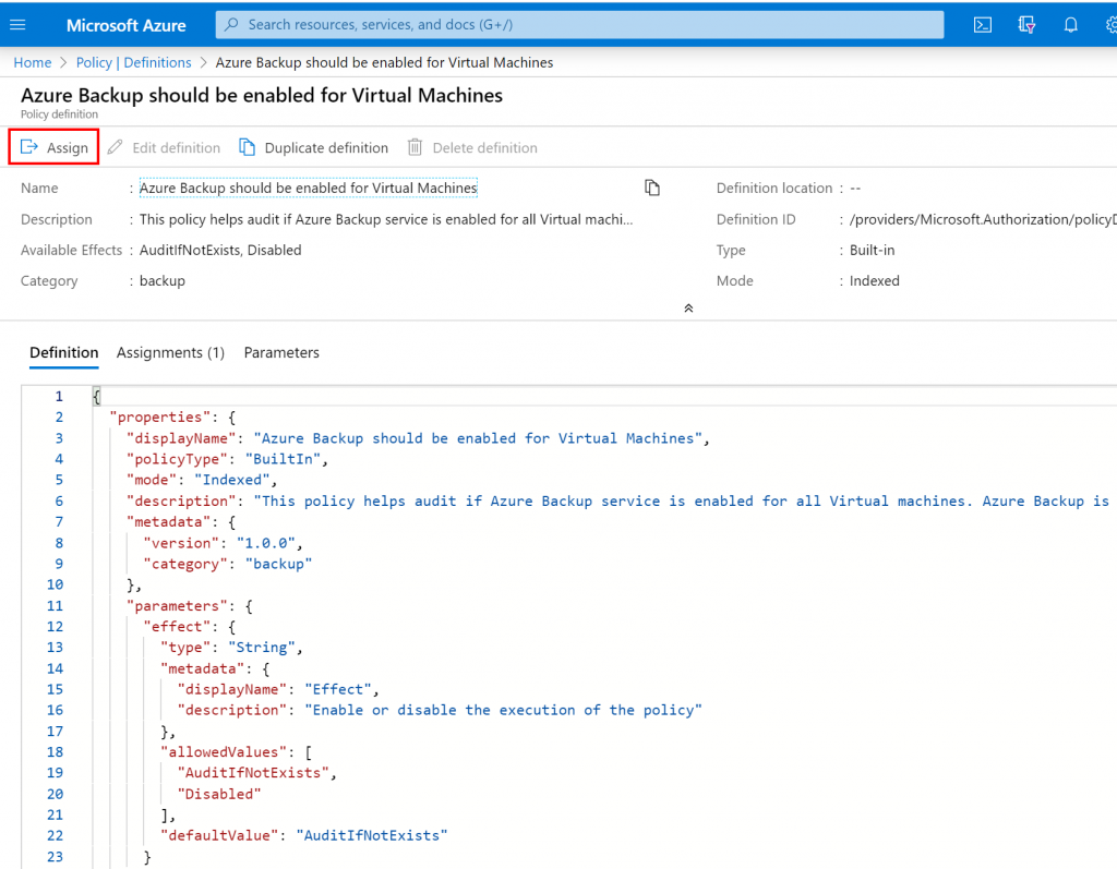 Assign to the Azure Policy