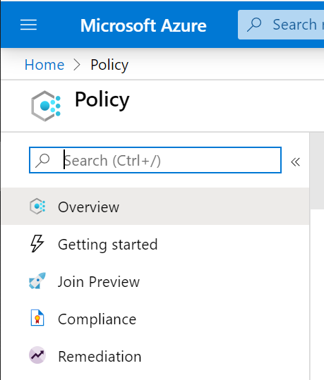 "Open the Azure Portal and go to ""Policy"""