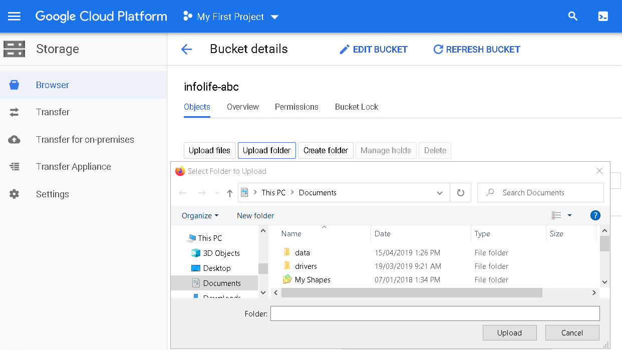 Upload a folder to the cloud storage bucket